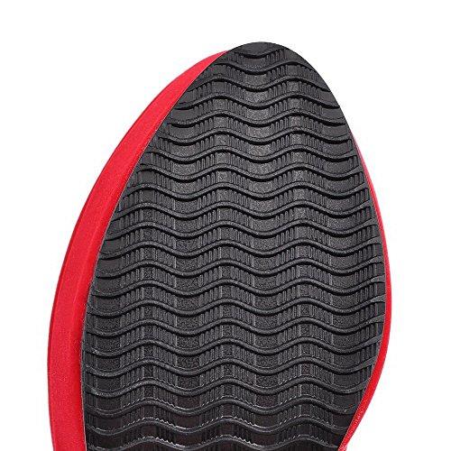 VogueZone009 Donna Alta Altezza Puro Cerniera Tacco Alto Stivali con Metallo Rosso