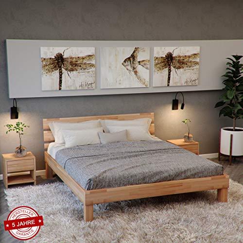 Krokwood Valetta Massivholzbett in Buche FSC 100% Massiv, Natur geölt Buchebett, billig Holzbett mit Kopfteil, massivholz Bett vom Hersteller