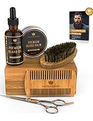 Naturenics Premium Bart Pflege Set für Männer Pflege - 100% bio Unscented Bart Öl, Bart Pinsel, Doppelzahn kamm, Schnurrbart und Bart Balm Butter Wachs, Friseurschere mit Bambus Geschenkset & eBook