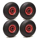 LOT de 4 roues gonflables 260 x 85 alésage 20 mm (3.00-4) à rouleaux CH405 Kg
