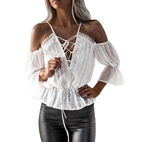 DOLDOA Frauen Kurzschluss Hülse off Schulter Spitze Chiffon Blusen beiläufigen Oberseiten T-Shirt (EU: 40) (Bikini Bottom String Dot)
