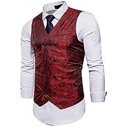 UUAISSO Hombre Paisley Elegante Chaleco Traje Slim Fit Waistcoat Rojo S