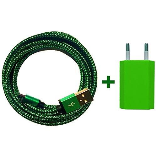 [Premitech®] USB Netzteil 5V/1A + 2m Premium Nylon Micro USB Ladekabel Datenkabel SET kompatibel mit [Universal, Handy, Tablet, Smartphone, Samsung Galaxy, HTC, Nokia, Sony, LG, Nexus, und viele mehr...] grün