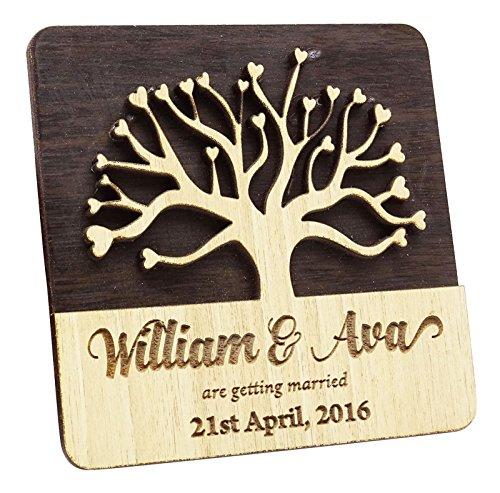 10 Speichern Sie die Holzdatumsmagnet Gewohnheit gravierten Holz Magnet rustikale Hochzeit Ankündigungen Idee