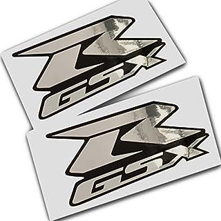Suzuki GSXR Silber Chrom auf Schwarz Grafik Aufkleber Aufkleber X 2