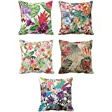 YaYa cafe Cotton Floral Pillow Covers (Multicolour, 24x24-inch) - Set of 5