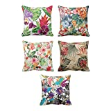 TYYC New Year Gifts for Home Best Flower Floral Pattern Printed Cushion Covers Set of 5 - 12x12 inches