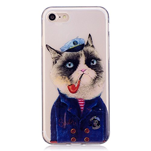 Cover iPhone 7/iPhone 8, Voguecase Custodia Silicone Morbido Flessibile TPU Custodia Case Cover Protettivo Skin Caso Per Apple iPhone 7/iPhone 8 4.7(Arcobaleno Gatto) Con Stilo Penna Tubo Gatto 01