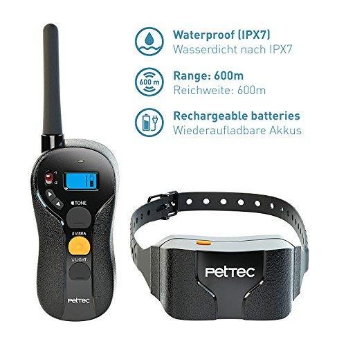 PetTec Remote Vibra Trainer Advance, Erziehungshalsband mit 16 Vibrationsstufen und Tonsignal, inkl. Fernbedienung 600m Reichweite, aufladbarer Akku, wasserdicht IPX7, Antibell Halsband für Hunde