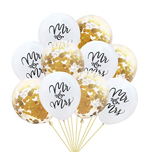 Tumao 10 Stück Mr.& Mrs Latexballon Konfetti Luftballons, Ideal für Hochzeit, Junggesellinnen-Abschied, Hen Party, Hochzeits-Deko. (Gold)