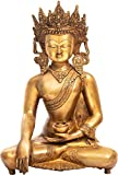 "Exotic India Buda en Bhumisparsha Mudra Estatua, Amarillo, 6 x 9,5 x 14,1"""