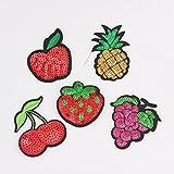 wicemoon 5PCS Schöne Fashion Pailletten Fruit Reinigungstuch Dekorative Aufkleber DIY Kleidung Zubehör mit Kleber
