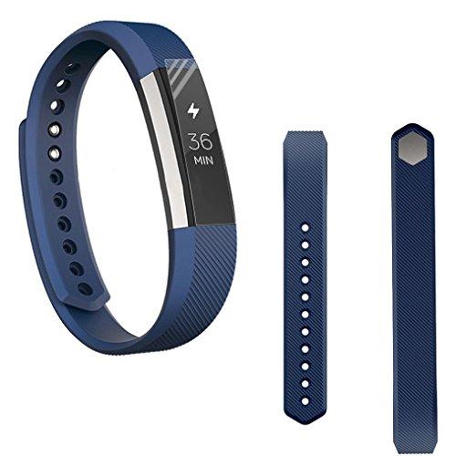 Preisvergleich Produktbild Sansee Ersatz-Armband Silikon-Gürtelschnalle + Schutzfolie für Fitbit Alta HR (Silikonband + Folie) (Dunkelblau)