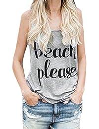 be15af1ad370f5 Manadlian Damen T-Shirt Ärmellos Tops Kurzarm Sommer 2018 Frauen T-Shirts  mit Sprüchen Beach Please Crop Tops Weste Drucken…