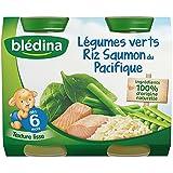 Blédina Légumes Verts Riz Saumon 2 x 200 g