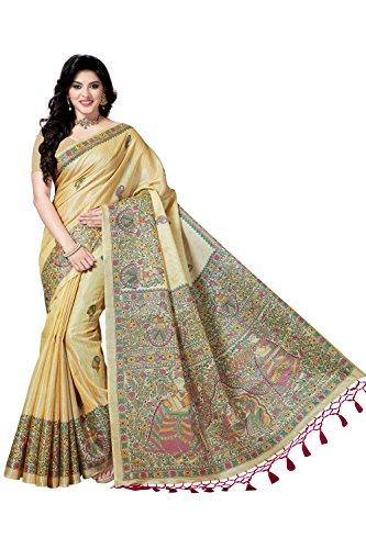 Rani Saahiba Madhubani Printed Bhagalpuri Art Silk Saree ( SKR3590_Beige - Pink...