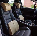 #2: Beige : Car Headrest Memory Cotton Massage Pillow Neck Pillow Waist Cushion Set Car Decorations 3Colors (Beige)