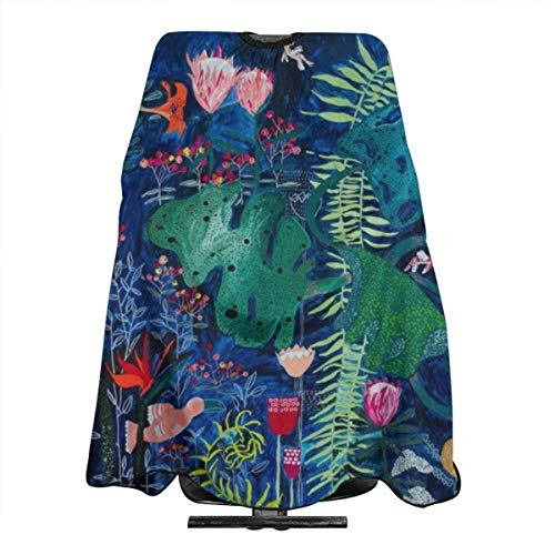 Brightly rainbow tropical jungle mural with birds and tiny big cats Haircut Hairdressing Cape Cloth Apron Hair Styling Hairdresser Cape Barber Salon -