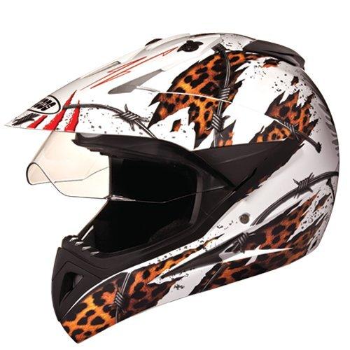 Studds Motocross D1 Helmet With Visor (White N12, M)