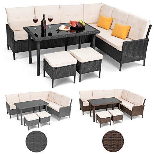 diVolio Gartenmöbel Venezia Sitzecke aus Polyrattan mit Zwei Hockern Sitzgarnitur Sitzgruppe Gartenset Sofagarnitur Gartenmöbel Set Lounge, Polyrattan + gratis Fleecedecken (schwarz)