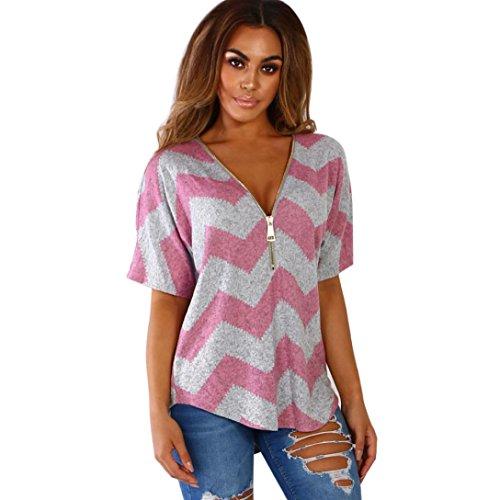 2c13a745509fb Huihong Damen T Shirt Reißverschluss V Ausschnitt Geometrie Druck Kurzarm  Casual Weste Tops Bluse (Rosa