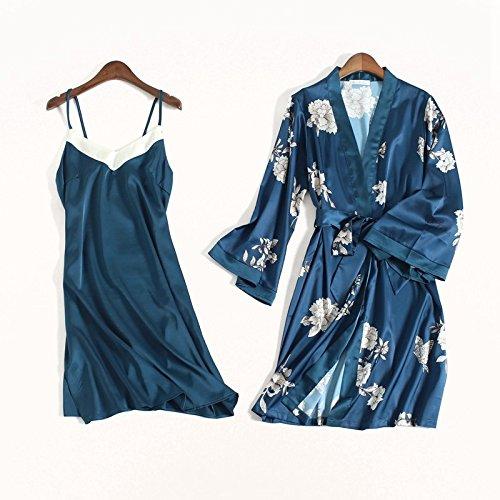 OME&QIUMEI Schlafanzug Weiblichen Anzug Kurze Ärmel Frühjahr Und Herbst Lose Seide Schlinge Rock M Navy Blue (Mitte Länge Rock Seide)