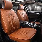Anvok Autositzbezüge 3D Luxus PU Leder Vollen Satz Universal Fit 5 Sitze Sitzauflage Auto Kissen Sitzbezug Schonbezüge Sitzauflagen für Auto/Autositze (braun)