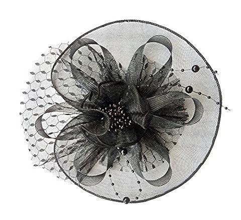 Damen Fascinator Haarclip Stirnband Spitze Schleier Blume Braut Kopfschmuck (Schwarz) (Nicht Grund Halloween Kostüme)