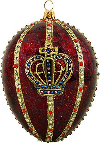 Joy to the World Glitterazzi Red Crown Jeweled Egg Polish Glass Christmas Tree Ornament Royal New -