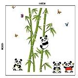 Aisence Wandtattoos Wandbilder grüner Bambus Niedlichen Panda Schmetterlinge Entfernbare Wandsticker für Wohnzimmer, Schlafzimmer