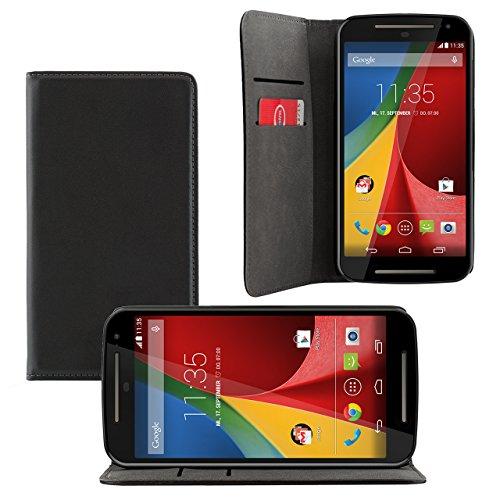 iProtect Motorola Moto G (2. Generation) Kunstleder Tasche im Bookstyle schwarz Schutzhülle mit integriertem Magnetverschluss