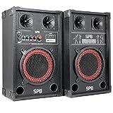 skytec SPB-8 PA Lautsprecher Aktivboxen Set (400 Watt max., 20 cm (8')-Subwoofer, USB-Port, SD-Slot, MP3-fähig) schwarz