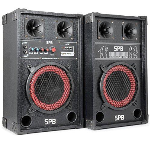 skytec SPB-8 PA Lautsprecher Aktivboxen Set (400 Watt max., 20 cm (8