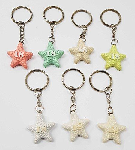 Takestop® set 12 pezzi bomboniera bomboniere stella marina 18 anni compleanno ceramica portachiavi portachiave porta chiavi colore casuale