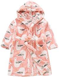 Aivtalk - Robe de Chambre Enfant Fille Garçon Vêtement de Nuit à Capuche Manche Longue Chaud Peignoir de Bain avec Ceinture pour Printemps Automne 4 Couleurs 2-8ans