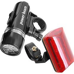 5 LED antorcha linterna frontal+luz roja de bicicleta