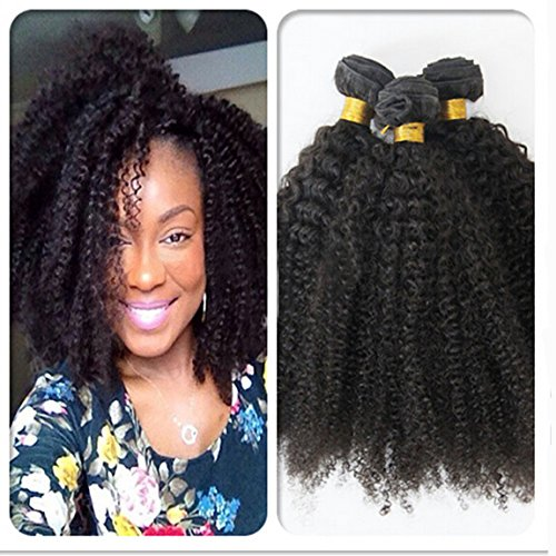 Romantic Angels®100% afro crépus extensions de cheveux bouclés, Remy cheveux humains tissage grade 5A, 3 bundles lot (16''16''16'') Naturel Noir#1b