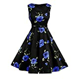 Lauzal 50s Retro Vintage Rockabilly Kleid Cocktailkleid Knielang Blumenprint Partykleid mit Gürtel Gr:-L, Farbe:-Blau-arose
