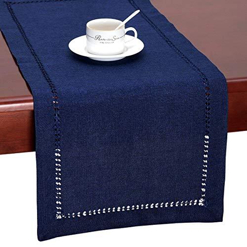 MJK Tischläufer, Hemstitch Navy Blue rechteckige Tischläufer oder Kommode Schal (14 X 72 Zoll) handgefertigt (Navy Blue Vinyl Tischdecke)