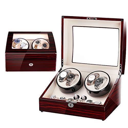 Luckyin Schmucksammlung Fall Uhr Display Aufbewahrungsbox Veranstalter Halter Holz Doppel Automatik Uhrenbeweger für Manschettenknopf, Ringe, Stifte Abschließbar - Halter Uhr Stift