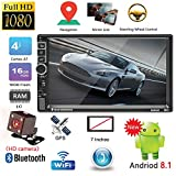 "ShiningLove Car Accessories, 2 Din Car Radio 7"" Touch Screen Android 8.1 Car MP5 Player GPS Navi Bluetooth WiFi USB FM HD Video Multimedia Player North America map"