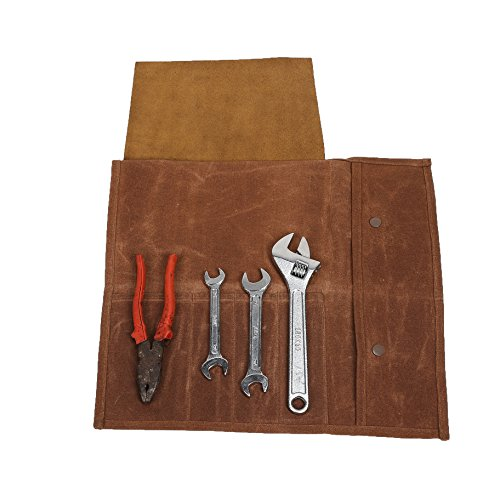 4 poches Toile Sac de couteau de chef Wrap/couteau de chef Outil de rouleau de petits Gadgets Rouleau Pochette Outil Sac de rangement Cases avec sangle (Hgj17-b)
