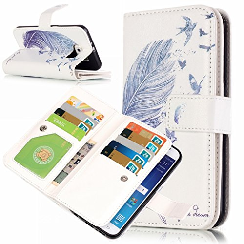 idatog Custodia a libro per iPhone 5C, con protezione per lo schermo in vetro temperato, chiusura magnetica, alta qualità, classica, colorata, design alla moda, in similpelle, con cordino, funzione st Blue Feather