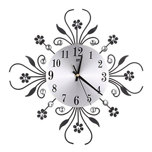 Baoblaze Horloge Murale Design Moderne Acrylique Décor Horloge en Cristal Métal Bureau Cuisine - Noir