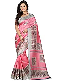 e-VASTRAM Women's Art Mysore Printed Silk Saree, Free Size (Pink, Ns3A)