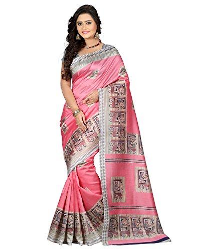 e-VASTRAM Womens Art Mysore Printed Silk(NS3A_Pink)