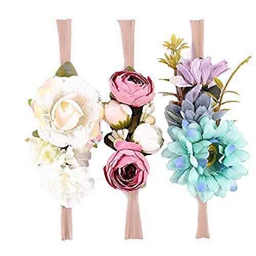 elastische Blume Stirnband Baby Mädchen Blumenmuster Krone Kranz Neugeborenen Haarschmuck Party Supplies (Farben Packung - B) ()