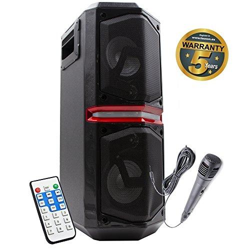 Lauson Altavoz portátil Bluetooth con Luces multicolor, Función Karaoke, MP3 desde USB/Tarjeta SD, Radio FM, Ideal para fiestas y discotecas, Accesorios incluidos (Mando a distancia/Cable auxiliar/Micrófono/Adaptador de carga), Color Negro