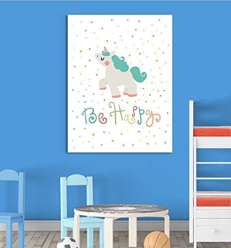 Inspired Walls Be Happy Unicorn Cute Cartoon Kinderzimmer Schlafzimmer Wand Decor Art Poster Print