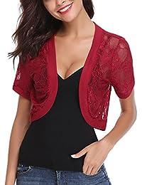 9cc7df68c4 Abollria Womens Shrugs Summer Floral Lace Short Sleeve Open Front Bolero  Cardigan